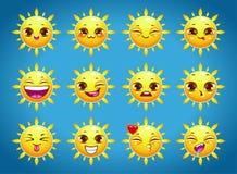 Cute cartoon sun character emotions Stock Images