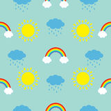 Cute cartoon sun, cloud with rain, rainbow set. Baby Seamless Pattern Wrapping paper. Textile template. Blue background. Flat design. Vector illustration Royalty Free Stock Photo