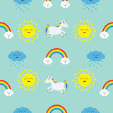 Cute cartoon sun, cloud with rain, rainbow, unicorn horse with eyes set. Baby Seamless Pattern Wrapping paper, textile template. B. Lue background. Flat design Royalty Free Stock Photos