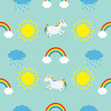 Cute cartoon sun, cloud with rain, rainbow, unicorn horse set. Baby Seamless Pattern Wrapping paper, textile template. Blue backgr Stock Photography