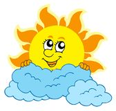 Cute cartoon Sun with clouds Stock Photography