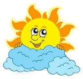 Cute cartoon Sun with clouds Stock Photography