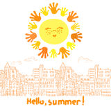 Cute cartoon sun and doodle cityscape. Stock Images
