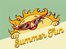 Cute cartoon sun in sunglasses look out, vector illustration, retro stylization.  Stock Photo