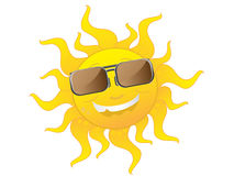 cute cartoon Sun wearing sunglasses Stock Image