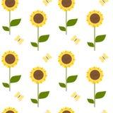Cute cartoon sunflower seamless pattern background illustration Stock Image