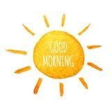 Cute cartoon sunshine. Hand drawn watercolor illustration smiling sun.. Cute cartoon sun. Hand drawn watercolor illustration. Water-color painted illustration Stock Image