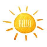Cute cartoon sunshine. Hand drawn watercolor illustration smiling sun.. Cute cartoon sun. Hand drawn watercolor illustration. Water-color painted illustration Royalty Free Stock Image