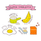 Cute cartoon Super omelette recipe Stock Photo