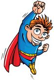 Cute cartoon Superboy flying up. He is isolated on white Royalty Free Stock Photography
