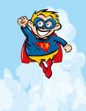 Cute cartoon Superboy flying up Royalty Free Stock Image