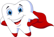 Cute cartoon superhero tooth posing stock illustration