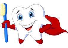 Cute cartoon superhero tooth with toothbrush Royalty Free Stock Images