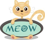 Cute cartoon surprised ginger cat royalty free illustration