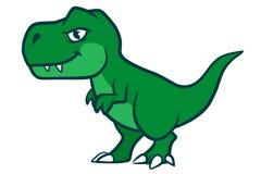 Cute cartoon t-rex. Hand drawn cartoon vector character illustration of a cute smiling green Tyrannosaurus Rex Stock Photo