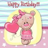 Cute Cartoon Teddy bear with balloon stock illustration
