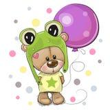 Cute Cartoon Teddy Bear with Balloon vector illustration