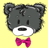 Cute cartoon teddy bear with a bow. Hand-drawn teddy bear. Vector illustration Stock Photography