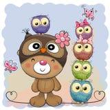 Cute Cartoon Teddy Bear and five Owls vector illustration
