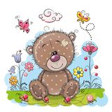 Cute Cartoon Teddy Bear with flowers. And butterflies on a meadow stock illustration