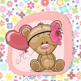 Cute Cartoon Teddy Bear girl with balloon