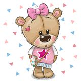 Cute Teddy Bear with a bow on a white background. Cute Cartoon Teddy Bear Girl with a bow on a white background royalty free illustration