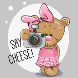 Cute cartoon Teddy Bear Girl with a camera Royalty Free Stock Images