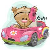 Cute Teddy Girl goes on the car. Cute Cartoon Teddy Bear Girl goes on a pink car royalty free illustration