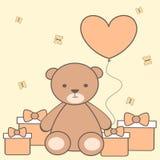 Cute cartoon teddy bear with heart balloon and gift box illustration Royalty Free Stock Photography