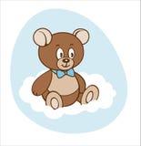 Cute cartoon teddy boy bear on white cloud Stock Photos