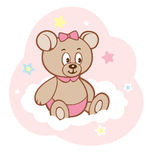 Cute cartoon teddy girl bear on white cloud Royalty Free Stock Images