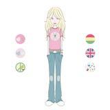 Cute cartoon teenage girl Stock Images
