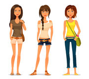Cute cartoon teenage girls. In casual fashion Royalty Free Stock Image