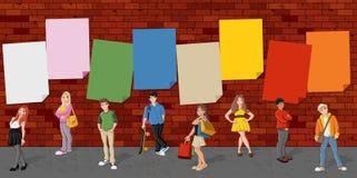 Cute cartoon teenagers Stock Images