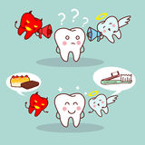 Cute cartoon teeth think. Cartoon teeth think with angel and devil , great for health dental care concept Stock Image