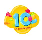 Cute Cartoon Template 10 Years Anniversary Vector Illustration. EPS10 Stock Photo