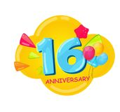 Cute Cartoon Template 16 Years Anniversary Vector Illustration. EPS10 Royalty Free Stock Images