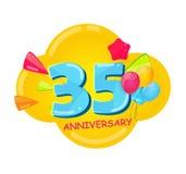 Cute Cartoon Template 35 Years Anniversary Vector Illustration. EPS10 Stock Image