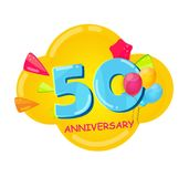 Cute Cartoon Template 50 Years Anniversary Vector Illustration. EPS10 Royalty Free Stock Image