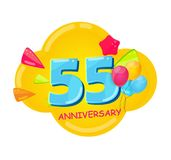 Cute Cartoon Template 55 Years Anniversary Vector Illustration. EPS10 Royalty Free Stock Photo