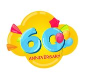 Cute Cartoon Template 60 Years Anniversary Vector Illustration. EPS10 royalty free illustration