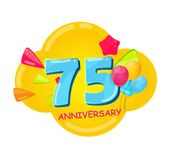 Cute Cartoon Template 75 Years Anniversary Vector Illustration. EPS10 Royalty Free Stock Photo