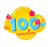 Cute Cartoon Template 100 Years Anniversary Vector Illustration. EPS10 Stock Photos
