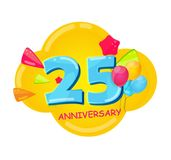 Cute Cartoon Template 25 Years Anniversary Vector Illustration. EPS10 Royalty Free Stock Photo