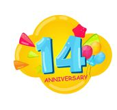 Cute Cartoon Template 14 Years Anniversary Vector Illustration. EPS10 royalty free illustration