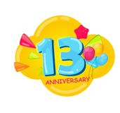 Cute Cartoon Template 13 Years Anniversary Vector Illustration. EPS10 Stock Image