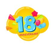 Cute Cartoon Template 18 Years Anniversary Vector Illustration. EPS10 Royalty Free Stock Photos