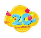 Cute Cartoon Template 20 Years Anniversary Vector Illustration. EPS10 Royalty Free Stock Images