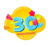Cute Cartoon Template 30 Years Anniversary Vector Illustration. EPS10 Stock Images
