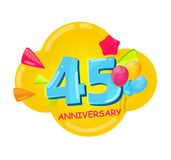 Cute Cartoon Template 45 Years Anniversary Vector Illustration. EPS10 Royalty Free Stock Photo